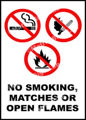 No Smoking Matches Or Open Flames Sign