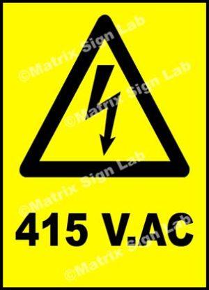 415 Volts AC Sign