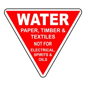 Water - Paper, Timber and Textiles Not For Electrical, Spirits And Oils Sign