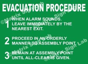 Evacuation Procedure Sign