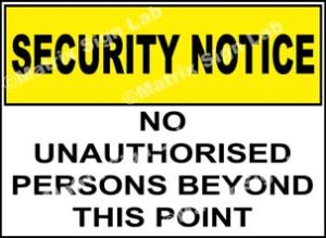 No Unauthorised Persons Beyond This Point Sign - MSL24768