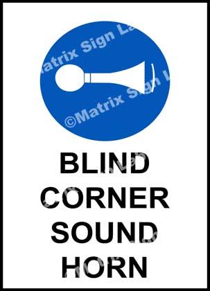 Blind Corner Sound Horn Sign