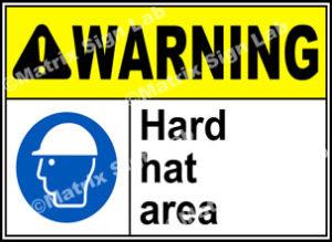 Warning Hard Hat Area Sign - MSL1540