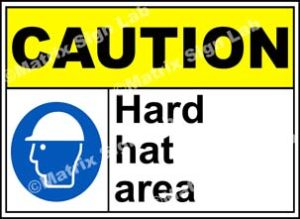 Caution Hard Hat Area Sign - MSL19080