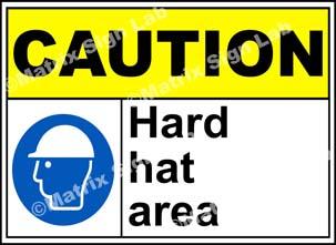 Caution Hard Hat Area Sign - MSL19080