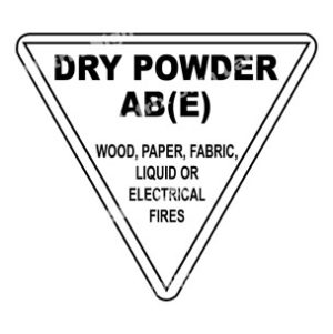 Dry Powder AB(E) Wood, Paper, Fabric, Liquid Or Electrical Fires Sign