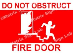 Do Not Obstruct Fire Door Sign