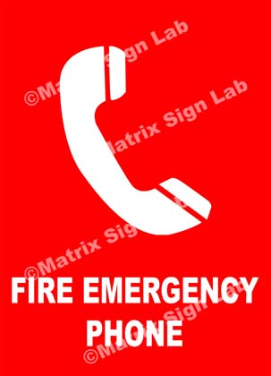 Fire Emergency Phone Sign