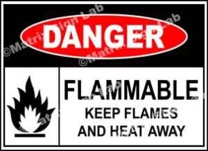 Flammable Keep Flames And Heat Away Sign