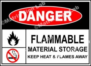 Flammable Material Storage Keep Heat And Flames Away Sign