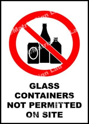 Glass Containers Not Permitted On Site Sign