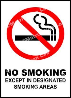 No Smoking Except In Designated Smoking Areas Sign