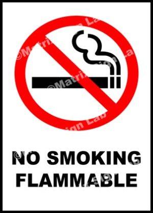 No Smoking Flammable Sign