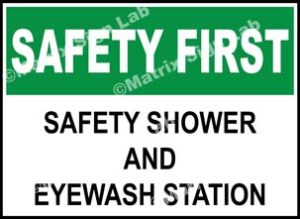 Safety First - Safety Shower And Eyewash Station Sign