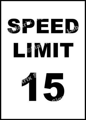 Speed Limit 15 KMPH Sign