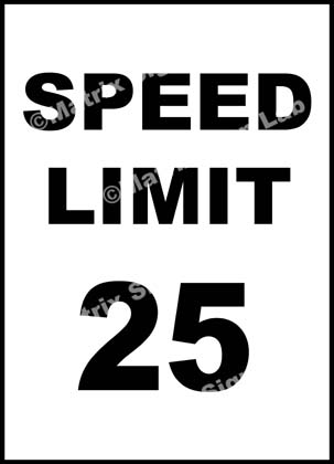 Speed Limit 25 KMPH Sign