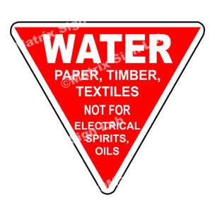 Water Paper, Timber, Textiles Not For Electrical Spirits, Oils Sign