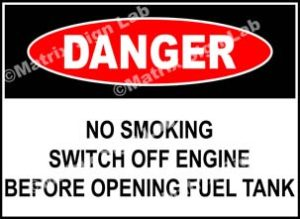 No Smoking Switch Off Engine Before Opening Fuel Tank Sign