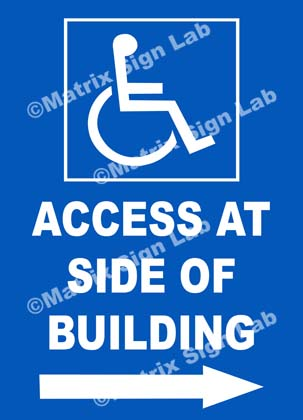 Disabled Access At Side Of Building Right Sign
