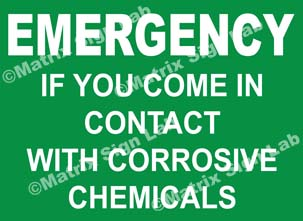 Emergency If You Come In Contact With Corrosive Chemicals Sign