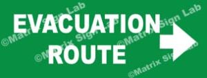Evacuation Route Right Sign