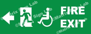 Fire Exit Handicap Left Sign