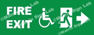 Fire Exit Handicap Right Sign