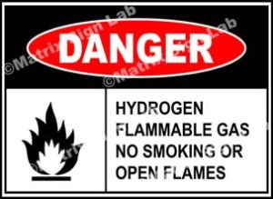 Hydrogen Flammable Gas No Smoking Or Open Flames Sign