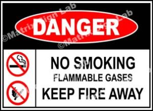 No Smoking Flammable Gases Keep Fire Away Sign