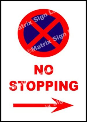 No Stopping Right Sign