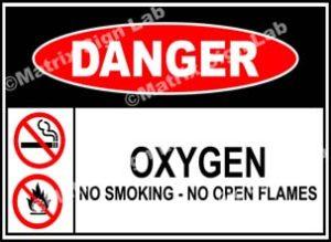 Oxygen No Smoking No Open Flames Sign