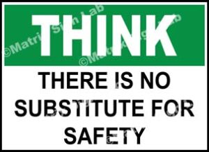 Think - There Is No Substitute For Safety Sign