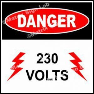 230 Volts Sign