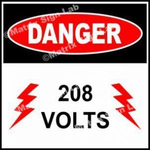 208 Volts Sign